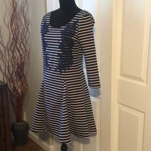 Free People Navy & white striped w lace dress Med